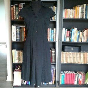 Antonio Melani POCKETS Black Pinstripe Pleat Dress
